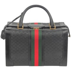 Gucci Vintage Black Monogram Canvas Beauty with Stripes Train Case