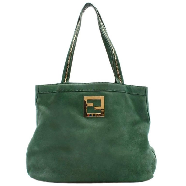 9b7de315b12 Fendi green leather and suede tote bag For Sale at 1stdibs