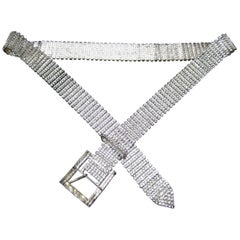 Diamante Clear Crystal Rhinestone Link Belt circa 1960s