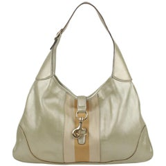 GUCCI Gold Tone Metallic Leather JACKIE O BOUVIER Hobo Bag