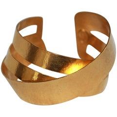 Herve van der Straeten Gilded Brass Overlap Bracelet