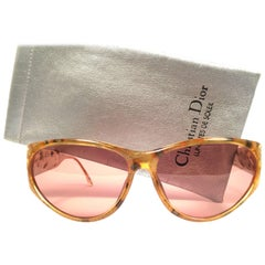 New Vintage Christian Dior Black 2765  Amber Translucent Optyl 1980 Sunglasses