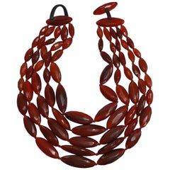 Monies Red Horn Multi Strand Statement Necklace