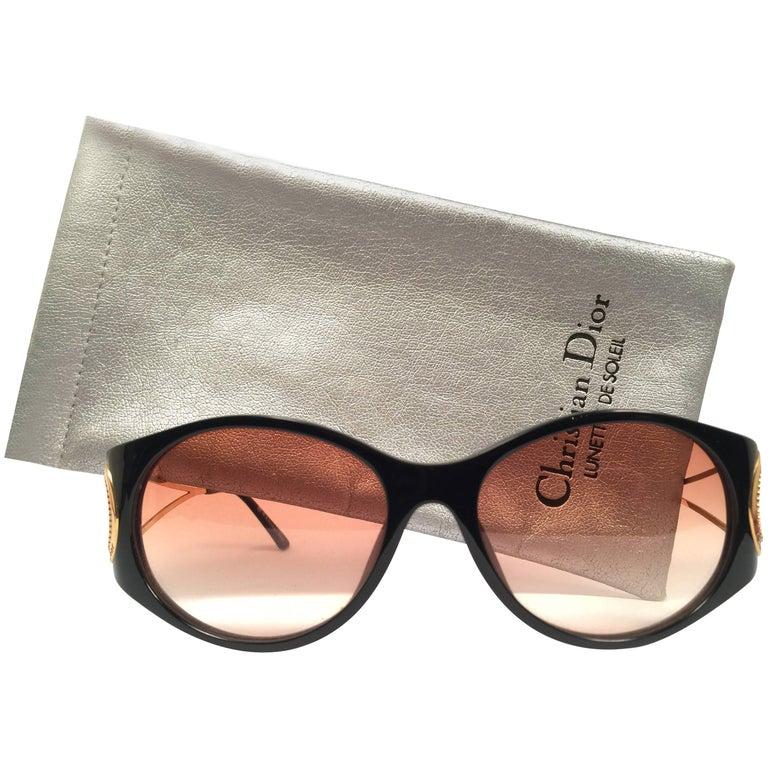 New Vintage Christian Dior 2661 Black Gold Optyl 1980 Sunglasses