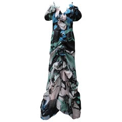 Christian Lacroix long flounced organza evening dress with abstract pattern prin