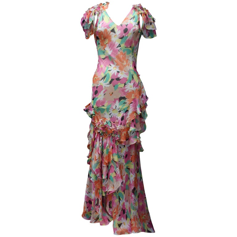 2000s Christian Dior long silk cocktail dress with floral pattern print