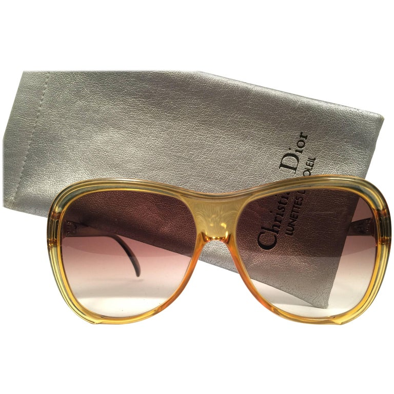 499701e0be3 New Vintage Christian Dior 2125 Oversized Translucent Optyl 1980 Sunglasses  at 1stdibs