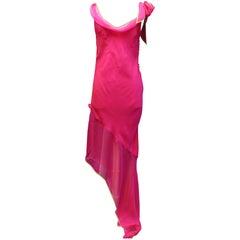 Christian Dior long cocktail dress in fuchsia silk muslin