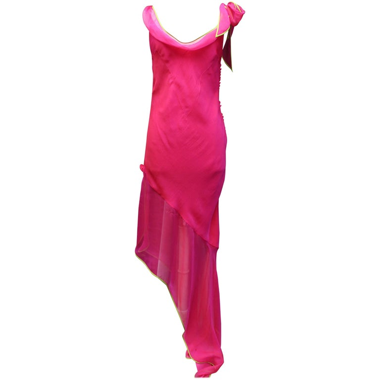 Christian Dior long cocktail dress in fuchsia silk muslin