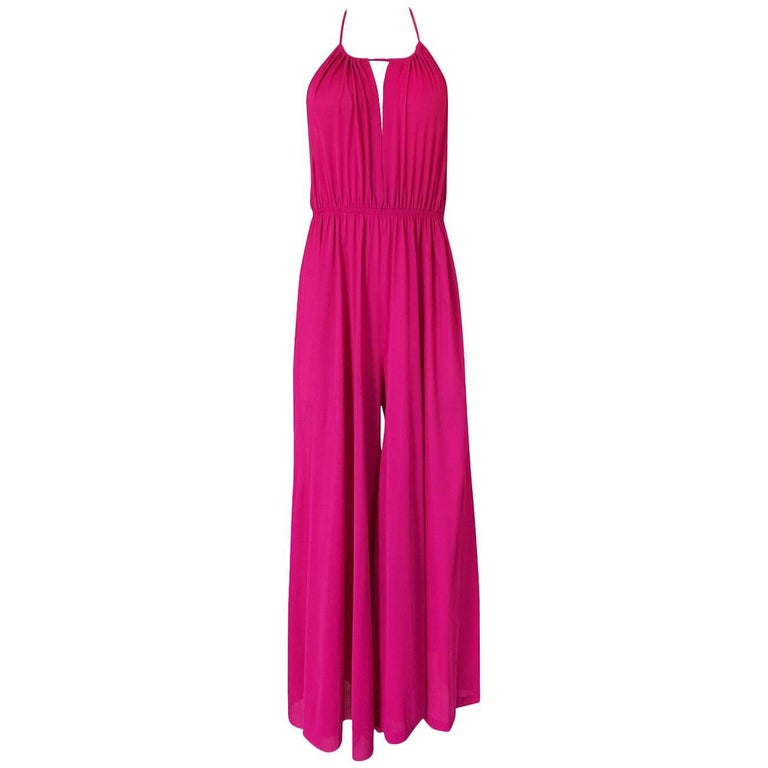 1960s Unlabelled Birght Pink Nylon Wide Leg Backless Jumpsuit
