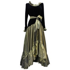 Yves Saint Laurent asymmetrical black velvet and khaki taffeta evening gown