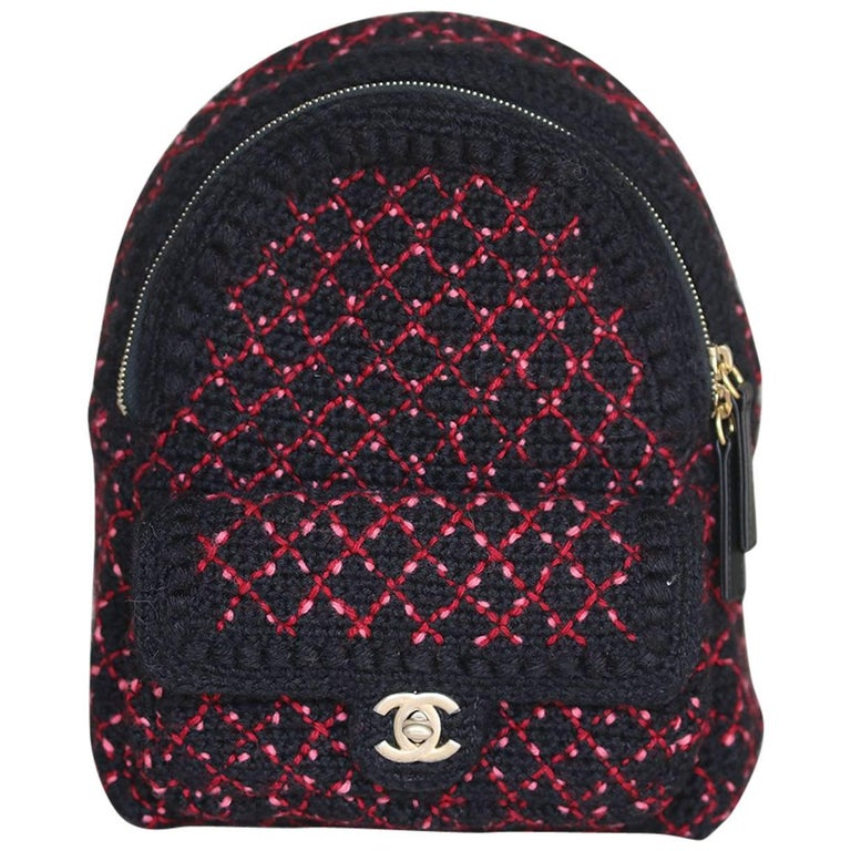 Chanel Wool Knit Mini Tweed Backpack Bag