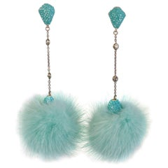 JCM London Mink and Swarovski Crystal Turquoise Earrings