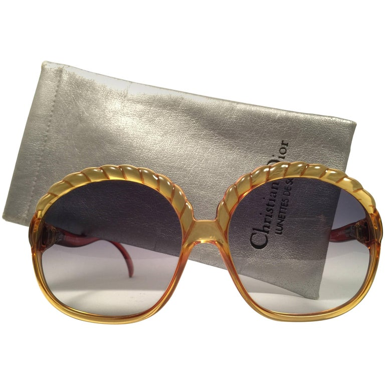 Christian Dior 2062 Vintage Amber Oversized Optyl Sunglasses, 1980s