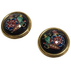 HERMES Vintage Round Clip-on earrings in Gold Plated and Black Enamel
