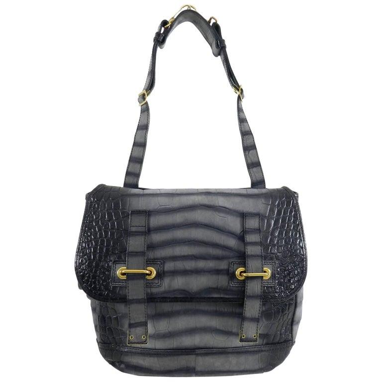 Yves Saint Laurent YSL Grey Faux Crocodile Grained Shoulder Bag