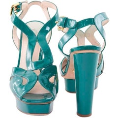 PRADA Turquoise Patent Leather High Heels Pumps Size 38.5FR