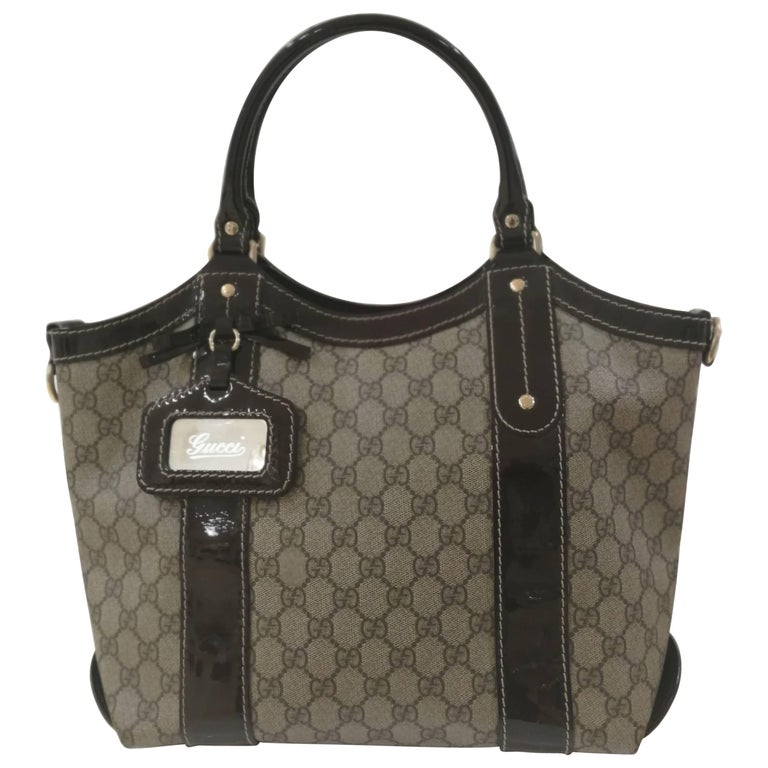 Gucci Textile Patent Leather Bow GG Shoulder Bag