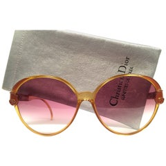 New Vintage Christian Dior 2206 Oversized Rose Optyl 1980 Sunglasses