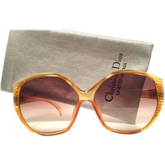 New Vintage Christian Dior 2061 Oversized Amber Optyl 1980 Sunglasses