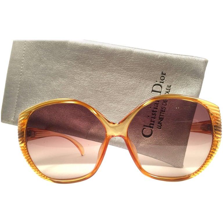New Vintage Christian Dior 2061 Oversized Amber Optyl 1980 Sunglasses