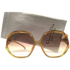 New Vintage Christian Dior 2097 50 Oversized Amber Optyl 1970 Sunglasses