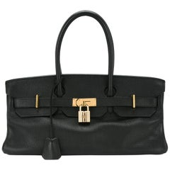 Hermes Birkin Black Leather Gold Hardware Top Handle Satchel Bag and Accessories