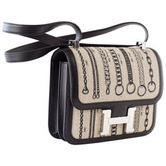 Hermes Dechainee Toile and Black Swift Leather  Constance 24 Bag De Camp