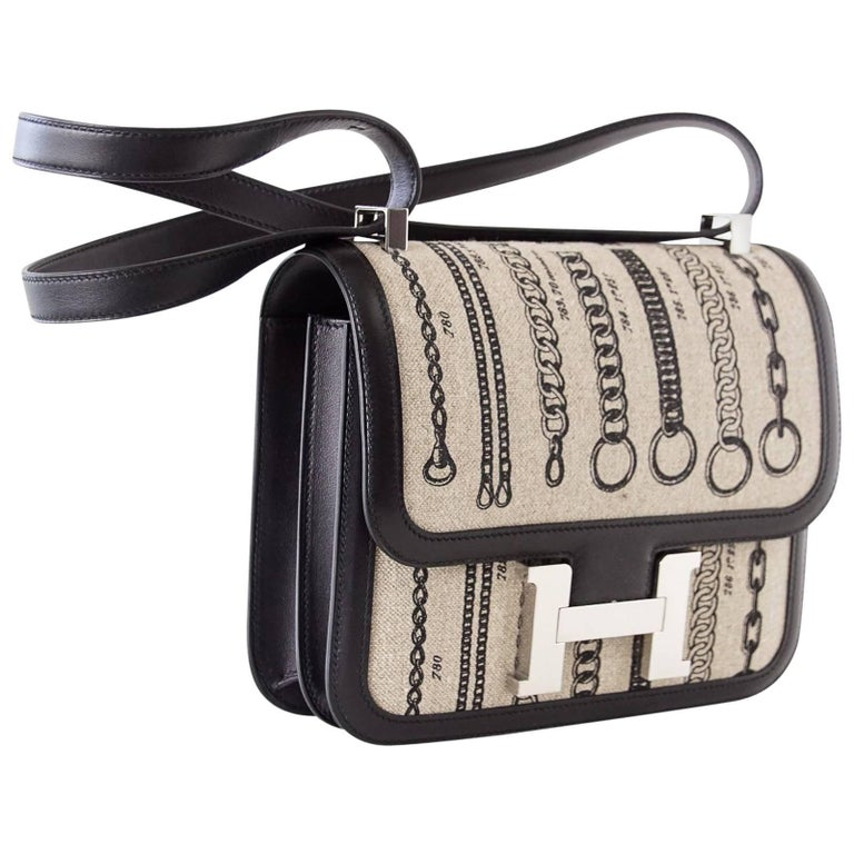 b9f97413090e Hermes Dechainee Constance Toile De Camp Black Swift Bag For Sale at ...