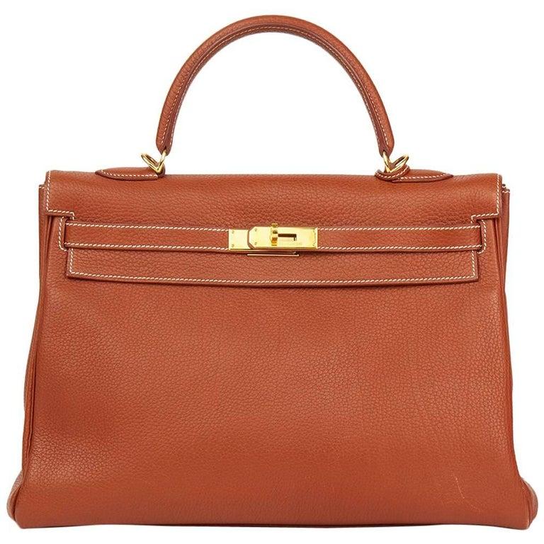 2001 Hermes Brique Togo Leather Kelly 32cm Retourne
