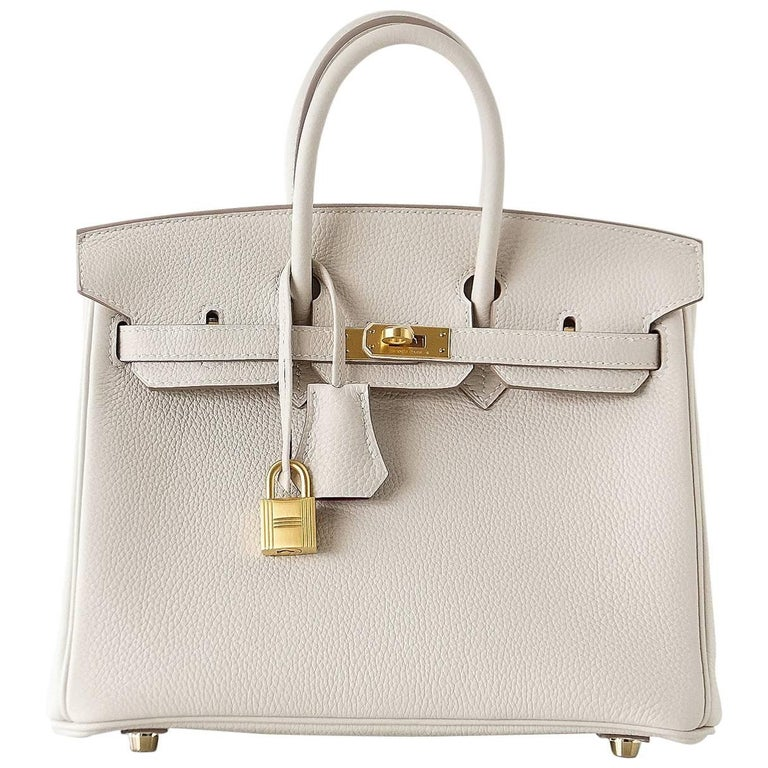 2ba88cc1d1 Hermes Birkin 25 Bag HSS Beton Rose Poupre Pink Brushed Gold Hardware Togo  For Sale