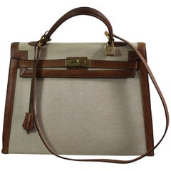 Vintage Hermes Kelly 35 Canvas  Golden Grained Leather. Copy Hermes Spa Invoece
