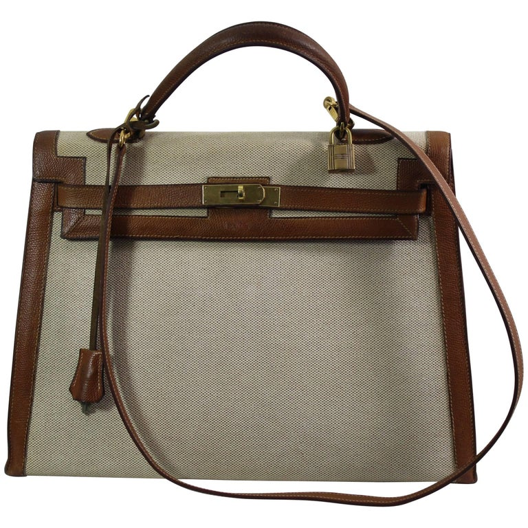 43b9cf484f7b Vintage Hermes Kelly 35 Canvas Golden Grained Leather. Copy Hermes Spa  Invoece For Sale