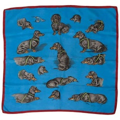 Hermes Bassets Allemands Silk Twill Carre Scarf, 1956