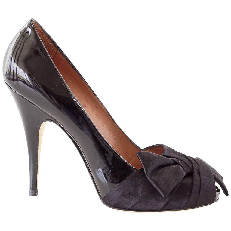 Giuseppe Zanotti Patent Peep Toe Satin Bow Hidden Platform Pump Shoe