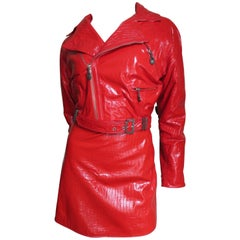 1990s Gianni Versace Red Leather Motorcycle Jacket & Skirt