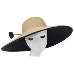"Frank Olive Wide Brim Straw Hat With Black ""Hat Pin"", 1980s"