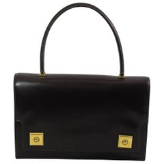 60's Vintage Hermes Dark Brown Piano Bag in Brown Box Leather