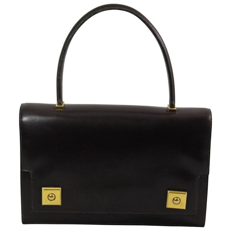 60's Vintage Hermes Dark Brown Piano Bag in Brown Box Leather