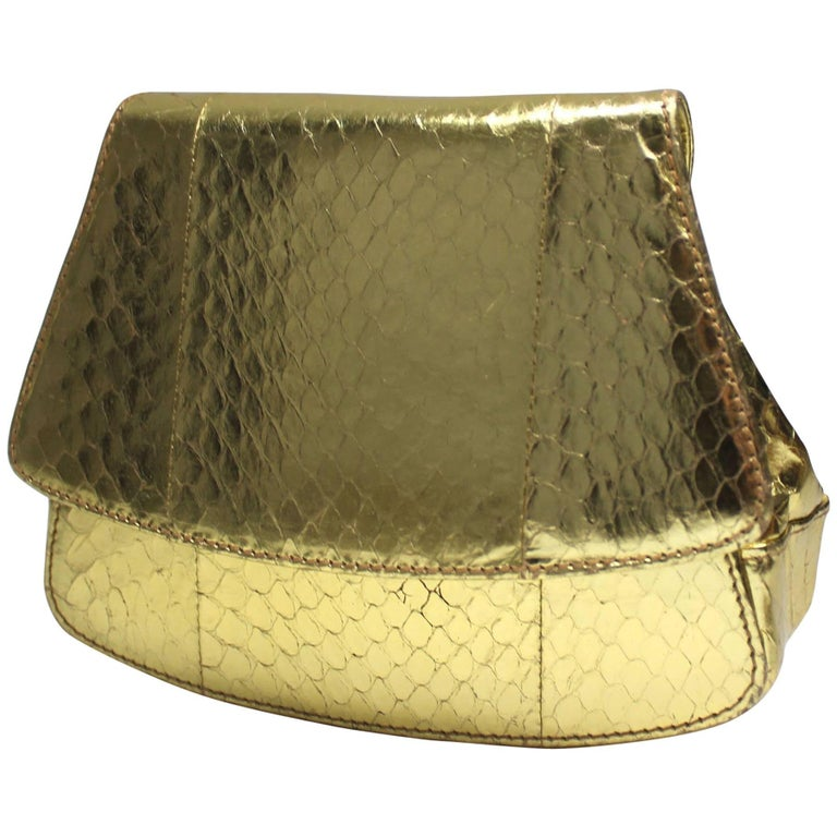 Prada Gold Leather Mini Crossbody/Clutch Bag
