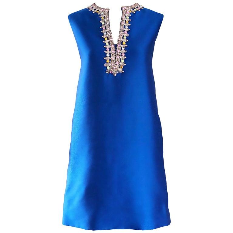 1960s Kiki Hart for Saks 5th Ave Royal Blue Silk Rhinestone 60s Shift Dress