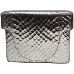 Prada Silver Leather Mini Box Clutch Handbag