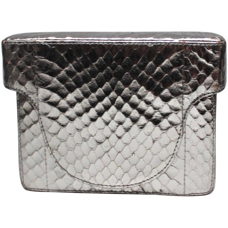 Prada Silver Leather Mini Box Clutch Handbag
