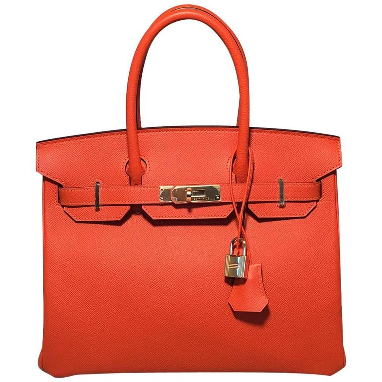 NEW Hermes Orange Veau Grain Lisse 30cm GHW Birkin Bag 2017