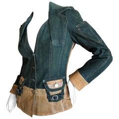 Christian Dior by John Galliano Vintage Leather Embellished Denim Bar Jacket