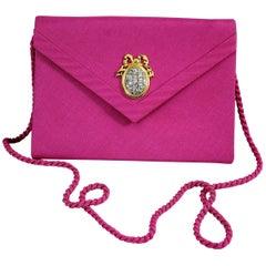 Christian Dior Vintage Boutique Pink Silk Clutch