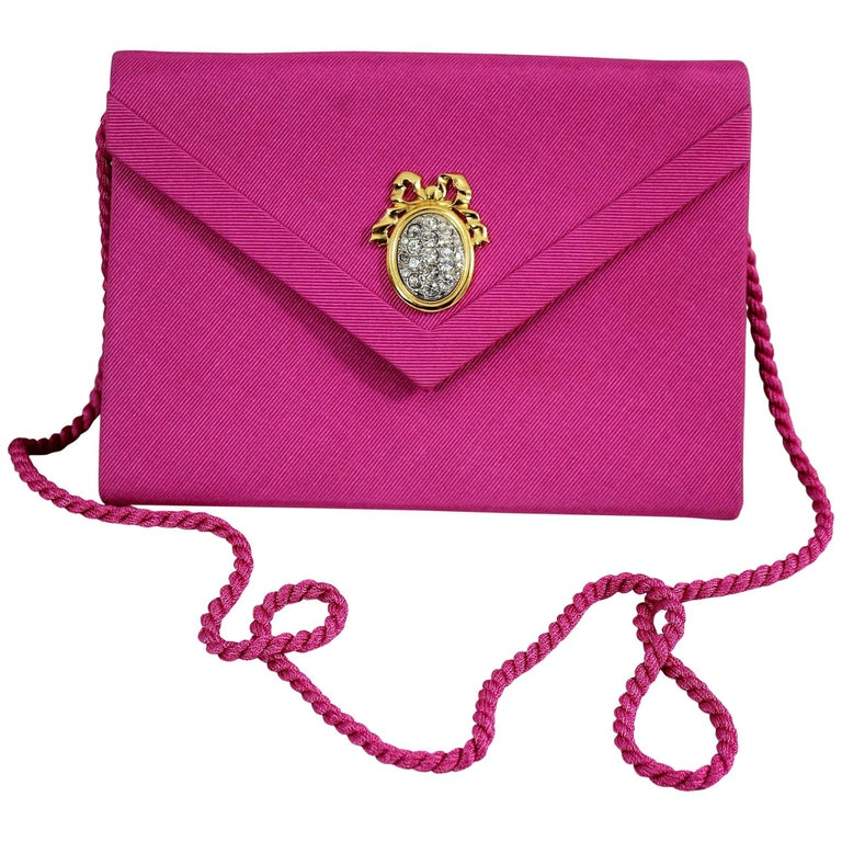 Christian Dior Vintage Boutique Pink Silk Clutch For Sale