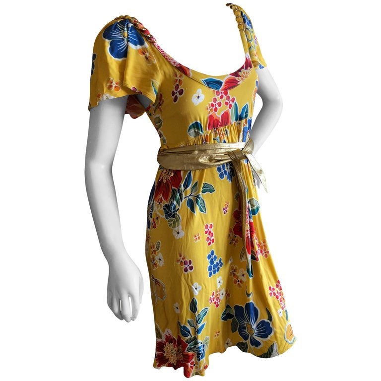 Dolce and Gabbana D&G Vintage Floral Pattern Cocktail Dress Gold ...