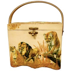 Exotic Jungle Safari Wood Decoupage Box Purse, circa 1970s