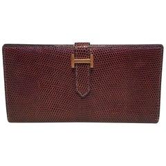 Hermes Brown Lizard Leather H Portfolio Wallet